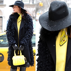 Silvia Rodriguez - Zara Hat, Moschino Scarf, Lacoste Bag - Yellow