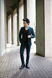 Lucas Hui - Topman Plaid Pants, Tommy Hilfiger V Neck Sweater, Topman Green Blazer - Darling, Where Are You?