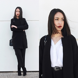 Esther L. - Missguided Angled Collar Coat, Pepa Loves Culottes Pants, Mango Boots, Primark Belt, Zara Chain Bag - THE ANGLED COLLAR COAT