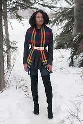 Louisa Moje - Value Village Loose Knit Fringe Scarf, Asos Metallic Bow Belt, Zara Black Otk Kitten Heel Boot - Styling a Loose Knit Fringe Scarf