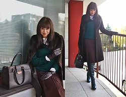 Katarína Jakubčová - S. Oliver Dark Green Pullover With V Neck, Medicine White Shirt, Handmade Skirt Dark Brown Midi, Parfois Dark Brown Bag, Dark Brown Coat With Faux Fur, Green Over The Knee Boots, Brown Gloves - What to wear to work