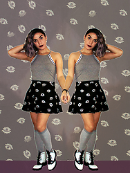 SV - H&M Eye Print Black Skirt, Asos Oxford Boots - Cement to Concrete