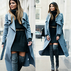 Pam Hetlinger - Missguided Wrap Coat, Stuart Weitzman Over The Knee Boots - How to wear one color head to toe
