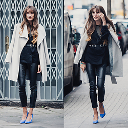 Lisa Fiege - Peter Kaiser Pumps, Zara Leather Pants, Mango Coat, H&M Blazer, Asos Belt - Who They Are