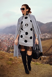 Butterfly Petty - Wholesalebuying Coat, Romwe Dress, L.Credi Bag, H&M Earrings - Polka dot dress