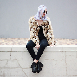 Tara-Lee McNulty - Mixshop Faux Coat, H&M Top, Mr Price Ankle Grazer Jeans, Boohoo Platform Boots, Dreamland Glasses - Purple Haze