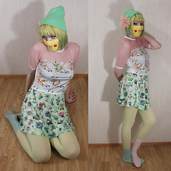 Lindwormmm - Happy Monday Pokemon Deerling Shirt, Pikachu Mask, Neon Green Beanie, Peach Flower Hairclip, Hello Sweetie Store Pokemon Skirt, Neon Yellow Tights - Sick Deerling