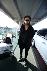 INWON LEE - Byther Black Wide Brim Hat, Byther Black Cardigan Hoodie - Ready to go for a travel!