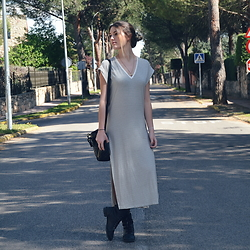 TurnToBlack Eira - Zara Dress, Mustang Boots, Zara Bag, H&M Necklace - STRIPES