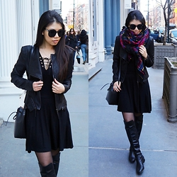 Josephine Ellen - Blanknyc Jacket, New Look Dress, Louise Et Cie Boots, Asos Scarf, Mansur Gavriel Bag, Polette Sunglasses - SOHO