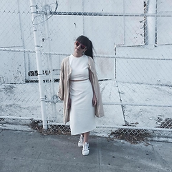 Camille Nichelini - Nasty Gal White Dress, Adidas, Ecote Beige Trench, Quay Clear Sunnies - Bates Motel