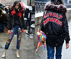 Lovelyimperfect by Adriana Kubieniec - Adriana Kubieniec Adartist Jacket By, Marc By Jacobs Sunglasses, Adriana Kubieniec Adartist Jeans By, Zara Boots By, Steve Madden Bagpack By - NEW YORK FASHION WEEK Day 2