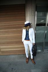 INWON LEE - Byther White & Blue Fedora Hat, Byther White Casual Coat - Modern Classic Urban Casual Classy Neat Fashion