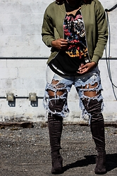 Kee Simone - Boohoo Mens Khaki Bomber Jacket, Iron Maiden T Shirt, Levi's® Deconstructed Mens Levis, Public Desire Suede Grey Thigh High Boots - The Destruction Era
