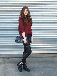 OH ANNE (BLOGGER) - Promod Blouse, Zara Bikerpant, Sacha Shoes Boots, Sassy Classy Bag - RED BLOUSE & BLACK BIKER BOOTS / 2