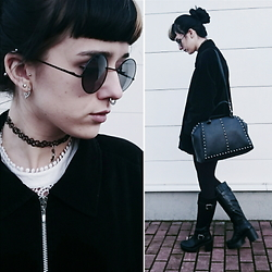Alice A. - H&M Leather Studded Bag, Round Sunnies - Damaged Beyond Repair