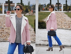 Claudia Villanueva - Newchic Sunglasses, Missguided Jacket, Zara Sweater, Zara Bag, Zara Jeans, Mango Boots - Dutch Braids