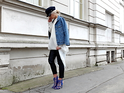 Miriam Mache - Missguided Jacket, Zara Heels - Denim jacket & blue heels