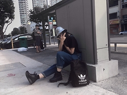 Si Qi T - Silver Metallic Bucket Hat, Vintage Denim Overalls Dungarees, Underground Nox Z1 Black Lux Leather Sneakers, Adidas Typo Backpack - Bus Stop