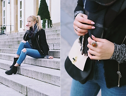 Kristiana V - Asos Denim, The Kooples Jacket, Vagabond Boots, Fiorelli Bag, Hippie Chic Ring, Monki Scarf - Busted knees