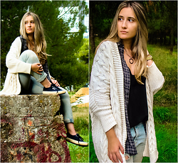 Maria M. - Zara Cardigan, Cotton Shirt, Zara Top, Superga Shoes - Layering.