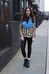 Chelsea Jade - Monki Jacket, Select Fluffy Collar, Topshop Trousers, Asos Boots - Blue Fur and Leopard Print