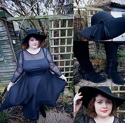 Melly-Em Clark - New Look Black Wool Tassel Floppy Hat, Simply Be Jameela Jamil Ponte Midi Dress, Yours Clothing Black Full Length Leggings, Yours Clothing Black Suedette Fringe Detail Ankle Boot - Hello!