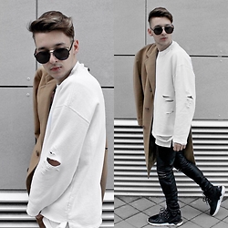 StreetFashion101 - H&M Diy Sweater, Zara Coat, Zara Leather Pants, Adidas Tubular - Overcoat