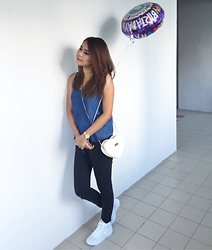 Nurul Amira - Nike Air Force One, Perlini Heart Sling Bag, Pull & Bear Black High Waisted Jeans, Cotton On Denim Top - A year older
