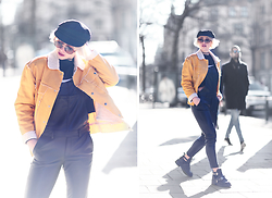 Mikaela Höök - Romwe Jacket, H&M Dungarees, Second Hand Hat, Jeffrey Campbell Shoes, Nike  Second Hand Sweater - YELLOW AS THE SPRING SUN