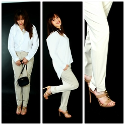 Ana Drosu - Guess? Sandals, Mango Pant, Michael Kors Bag, Mango Shirt - One day in the studio