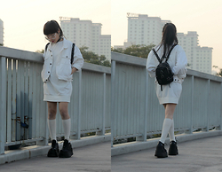 Dez ☹ - Unif Backpack, Vintage Jacket - Actual Angel