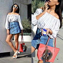 Daphne Blunt - Asos Blouse, Vintage Skirt, Prada Sandals, Gigi New York Tote, Supermarket Sunglasses, Are You Am I Choker - Vaseline x GiGi New York