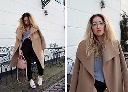 Lilia - Mango Camel Coat, Polette Glasses, Alexander Wang Mini Emile Bag, Brandy Melville Usa Tee, Missguided Cigarette Pants - Rose Gold Adidas Superstar