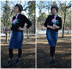 H.anna - Oggi Vintage Sweater, Reserved Denim Skirt, Headband (My Handmade) - The plait, the bow, the rose
