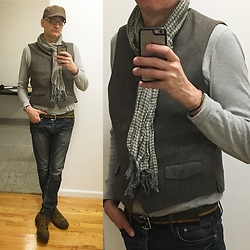 John G. - Taso Elba Vest, American Apparel Thermal Henley, Brooks Brothers Ribbon Belt, John Varvatos Scarf, H&M Jeans, Redwing Iron Ranger 8113 - March 7th NYC
