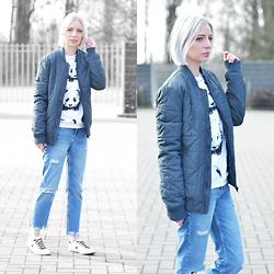 Nena F. - Mango Ripped Jeans, Mr Gugu Panda Sweater - Grey bomber jacket