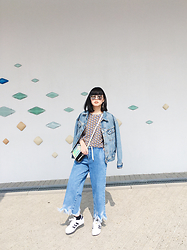 ERIKA N - Forever 21 Silver Sunglasses, Calvin Klein Denim Jacket, Zara Frayed Wide Leg Denim, Zara Geo Pattern Sweater, Adidas Super Star, Nasty Gal Holographic Bag - #denim