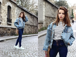 Clémentine Collinet - New Look Top, New Look Jean, Levi's® Jacket - Denim Addict