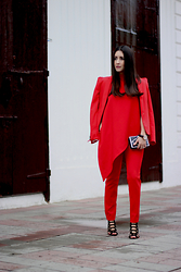 Anyelina G. - Zara Red Blazer, Gracia Red Asymmetrical Top - Monochromatic Red