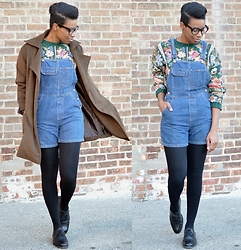 Sushanna M. - Oversized Brown Coat, Thrifted Vintage Floral Sweater, Thrifted Vintage Denim Shortalls, Thrifted Vintage Men's Black Captoe Oxfords - Forest For The Trees