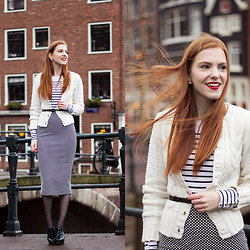 Sonja Vogel - Primark White Knit Cardigan, H&M Striped Top, Primark Dotted Midi Pencil Skirt - Cosy Chic