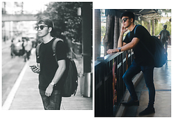 Andre Tan - Aldo Sunglass, Pull & Bear Jeans, Topman Suede Shoes - Shady