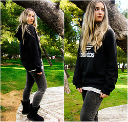 Maria M. - Adidas Hoodie, Zara Jeans, Ugg Boots - Comfortable and cozy.