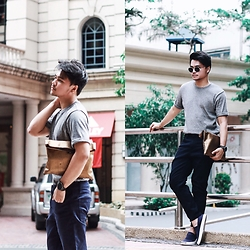 Michael Macalos - Memo Croped Pants, Memo Shirt, Converse Navy Slip Ons, H&M Clutch Bag - Street Luxe