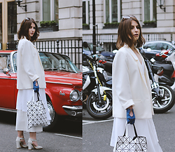 Denisia A. - Issey Miyake White Prism Bag, Vintage White Masculine Blazer, Zara White Dress, Cos White Cropped Trousers, Faith Light Grey Shoes - From Soho with love...