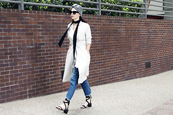 ASH - Trench Jacket, Asos Lace Up Sandals, Zara Boyfriend Jeans, Turban Hat - Trench Coat and Denim