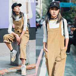 Xuan Huang - Cap(Love In Chinese), Design Cardigans, Corduroy Jumpsuit, Nike Air Force(Year Of The Horse) - Yellow, TWgirl
