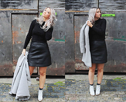 Joey Taylor - Urban Outfitters Polo Top, Whistles Leather A Line Skirt, Miista White Ankle Boots, Topshop Socks - WHISTLES A-LINE LEATHER SKIRT