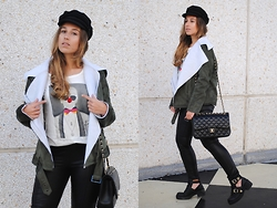Claudia Villanueva - H&M Cap, Sheinside Jacket, Dear Tee T Shirt, Chanel Bag, Mango Leggings, New Look Boots - Karl Lagerfeld & Friends